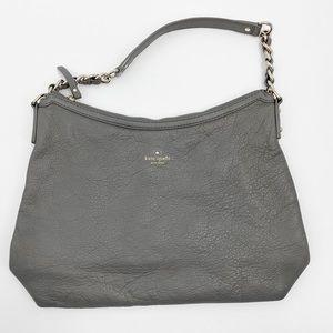 Kate Spade gray pebbled leather hobo shoulder bag